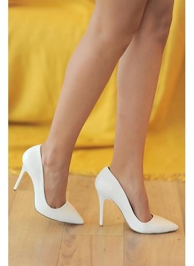 Pembe Potin A1770-17 Kadın Klasik Topuk Ayakkabı A1770-17 Beyaz